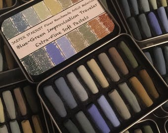 Blue-Green Improvisation set of 16  Handmade artisan extra-fine*** extra-Soft*** Pastels by Jazper Stardust