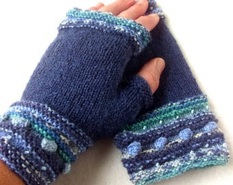 Knitted fingerless gloves, knitted mittens, knitted wrist warmers