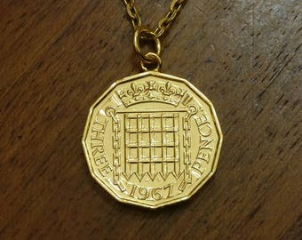 Threepenny (1953-1967) - Gold Plated Coin Necklace