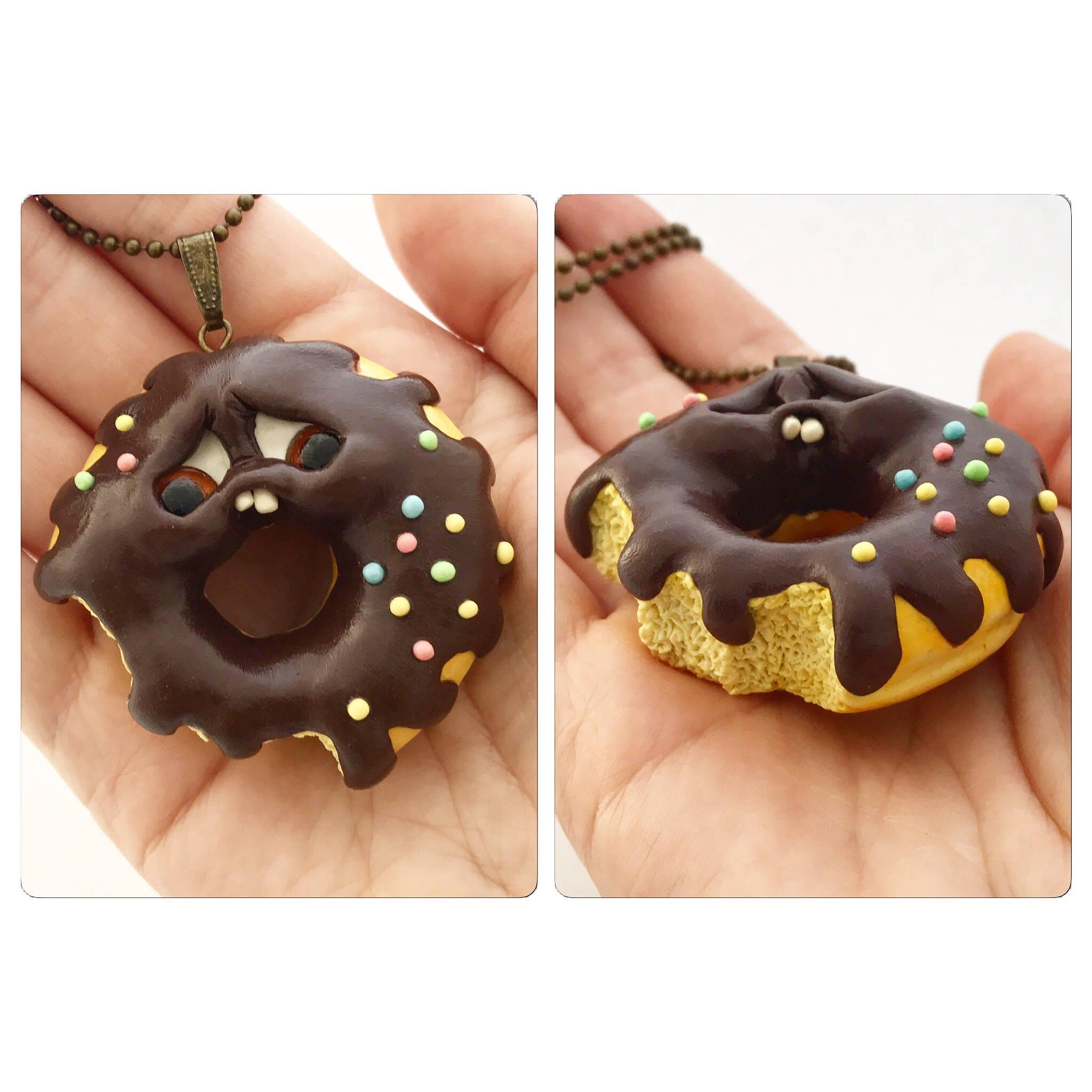 donut necklace, handmade jewelry, kawaii, kawaii charms, fimo