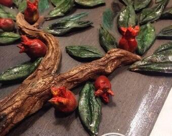 Clay art-GREEK IMMORTAL OLIVETREE-Greek pomegranate tree-gift for all
