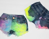 Razzles 2.0 Girls  NEON Rainbow denim shorties/toddler distressed denim/ripped jeans rainbow baby shorts/rainbow shorts neon shorts