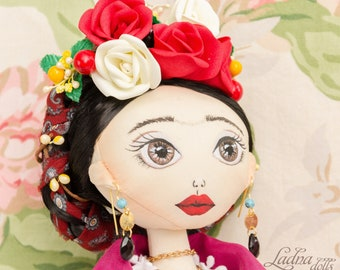 Frida Kahlo doll mexican painter Custom dolls Personalized OOAK doll Art doll Rag doll Frida doll portrait dolls fabric doll cloht doll gift