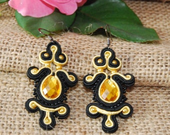 Yellow crystal earrings soutache, earrings, earrings, earrings Black Yellow soutache party gift
