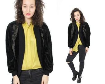Vintage Velvet jacket, Black jacket, Black velvet cardigan, Womens Vintage jacket, Victorian jacket, Steampunk jacket, Baloon sleeve /Medium