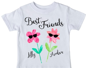 Best Friends Shirt Set, Personalized Shirt, bff Shirts, Friend Shirt, Flower Shirt, Girlfriends Shirt, Friend Gift,  Best Friend Gift, girl