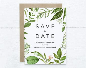Botanical Save The Date, Floral Save The Date / Printable PDF
