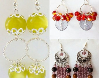 Brown, Crystal with red and light yellow drop earrings