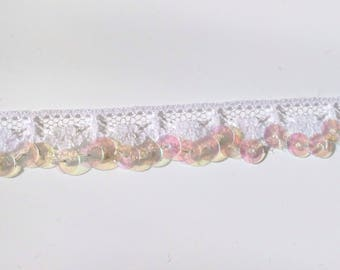Lace. With sequin sew white 1.5 cm