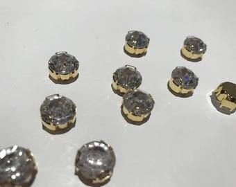 Set of 10 rhinestone set 8 mm Crystal gold base