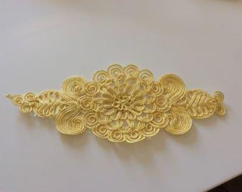 Applique embroidered print metallic 30 * 12.5 cm