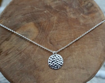 Necklace 925 Silver and hammered medal pendant