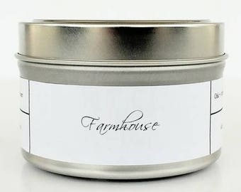 FARMHOUSE | Soy Candle | Scented Candle | Candle Tin | Candles | Cozy Candle | Pine Woodsy Candle | Farmhouse Candle | Farmhouse Kitchen