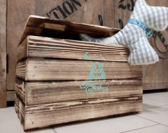 Toy box, chest, nursery, box, wooden box, storage box, wooden chest, toy box, wooden chest, order, children, owl, OWL