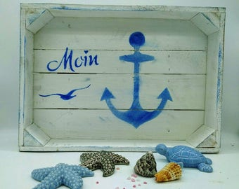 Moin, wooden tray, Obstkiste, Ahoy, beach, Shabby chic, wind, chalk color, waves, maritime motifs, sand, wind, personalsiertes gift