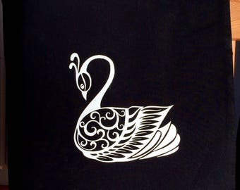 "Tote bag/purse/Tote/shopping/Tote black and white pattern ""Swan"" glitter"