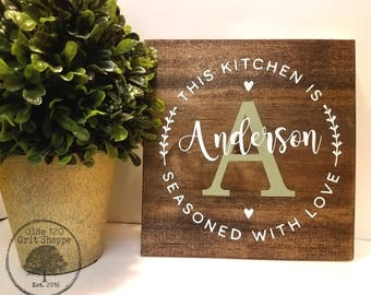 Seasoned With Love | Personalized Kitchen Sign | Kitchen Wood Sign | Rustic  Kitchen Word Art