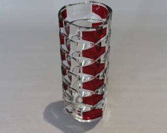 J G Durand Cranberry on Clear cut Glass Vase