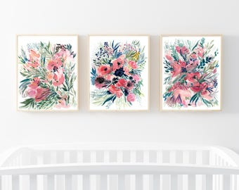 Floral Wall Art Set, Wall Art Prints Set, Botanical Set Of 3, Wall