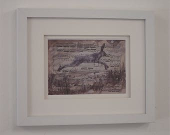 Leaping Hare framed print by Kyla Dante