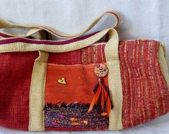 Velvet duffel bag