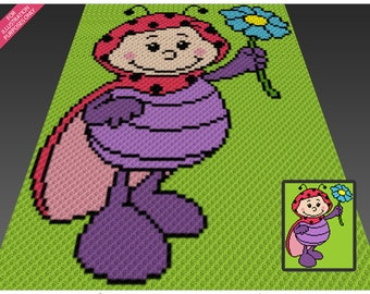 Spring Ladybug crochet blanket pattern; c2c, cross stitch; graph; pdf download; no written counts or row-by-row instructions