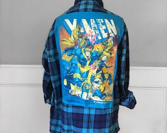 X- Men flannel Tee Vintage flannel shirt with x- men t shirt patch sewn on back Medium unisex xmen t shirt x-men t shirt