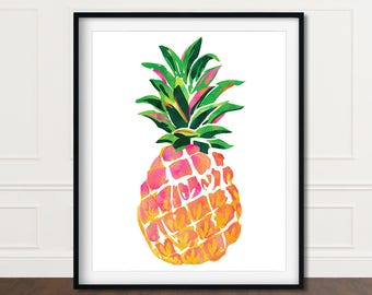 Pineapple Wall Art, Wall Print Pineapple, Pineapple Print Art, Pineapple Decor, Pineapple Prints, Wall Art Pineapple, Printable Pineapple