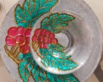 Designer glass plate and bowl set