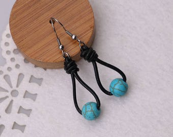 Blue Turquoise Stones Earrings, Single One Beaded Dangle Hook Earring for Girls,Stainless Steel Drop Leather Earring Jewelry 10 mm stones