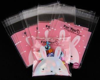 10 sachets bags cellophane self adhesive rabbit pink 7 x 7 cm gift pouches
