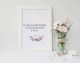 Framed  Mulan Quote | Princess Nursery Decor | The Flower That Blooms In Adversity Quote | Princess Gift | Girl's Room Decor |