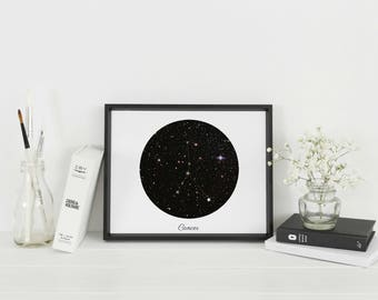 Framed Cancer Star Sign Wall Art | Cancer Constellation | Astrology Gift | Personalised Gift | A4 & A3 Sizes available