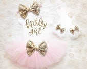 Birthday Girl 1st Birthday Outfit   Pink And Gold 1st Birthday Girl Outfit   First Birthday Shirt   Birthday Tutu Set   First Birthday