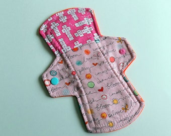 Sarah Jane Children at Play 8 inch cloth pad mama cloth liner light to regular flow hippy moontime homebirth postpartum trans zero waste