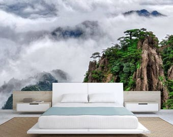 Chinese mountain wall mural, peel and stick, self-adhesive, foggy  mountain wall mural, fogy wallpaper, mountain wall decal, wallpaper