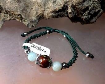 Jade and Pearl leaf bracelet