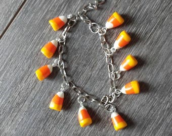 Bracelet candy Corn for Halloween or fall polymer clay