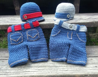 Hand made crochet blue jeans for baby