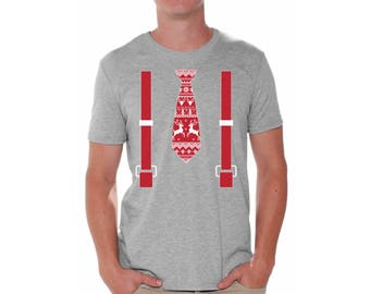 Red Tie With Suspenders Ugly Christmas Shirt For Men Christmas Shirts For Men Men's Holiday Red Tie With Suspenders Shirt Xmas Gifts For Him