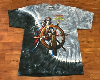 All over print shirt Pirates of the Caribbean movie promo tee size large 2003' Disney unisex Tie dye