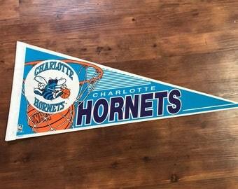 Vintage Charlotte Hornets pennant 1990's NBA memorabilia