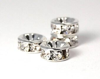 50pc-Silver Rhinestone Beads, Grade AAA,Rondelle, 6x3mm -50