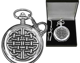 Pewter Celtic Pattern Pocket Watch - Engraved with your message