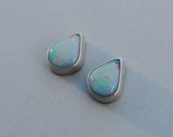 Handmade Sterling Silver Opal Tear Drop Earrings