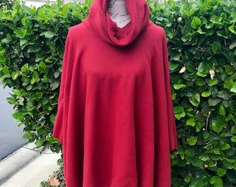 Red fleece poncho