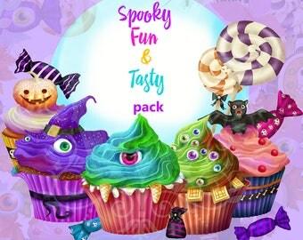 Monsters clipart, halloween clipart, halloween clip art,monsters clip art, candy clip art, sweets clip art, cupcake clipart, sweets clipart
