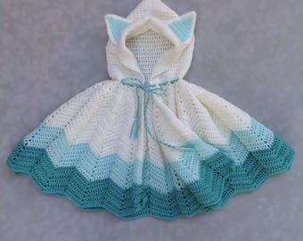 Toddler kitty cat costume hooded cape 1-4t