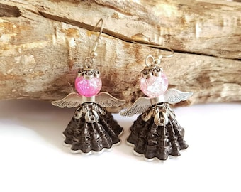 Black coffee capsules Angel earrings