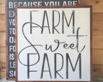 Farm Sweet Farm- Farm Wood Sign- Farmer-Home SweetHome- Large Farmhouse Sign- Farmhouse Decor- Large Wood Sign- Framed Sign